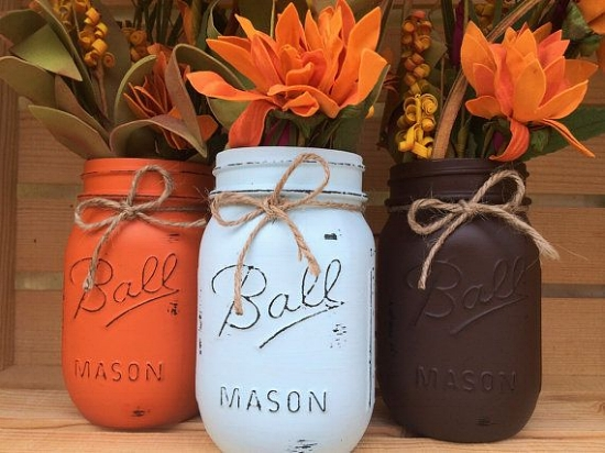 Mason Jar Thanksgiving Centerpiece