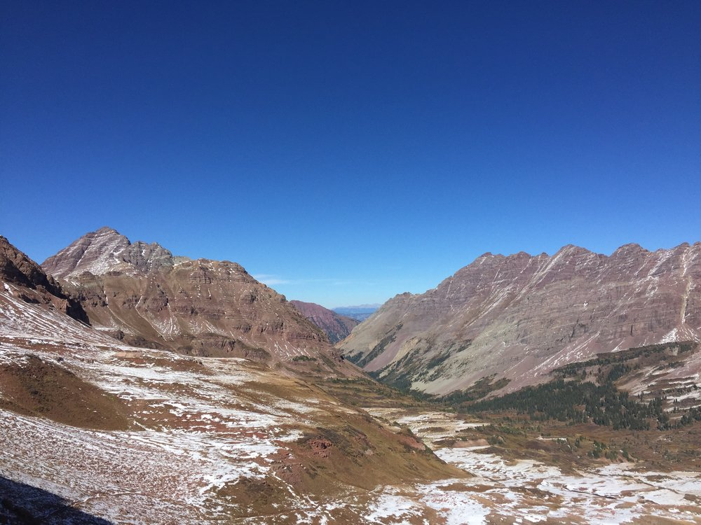 Looking down from West Maroon pass (12,500') and dreaming of the car at the end of this valley.