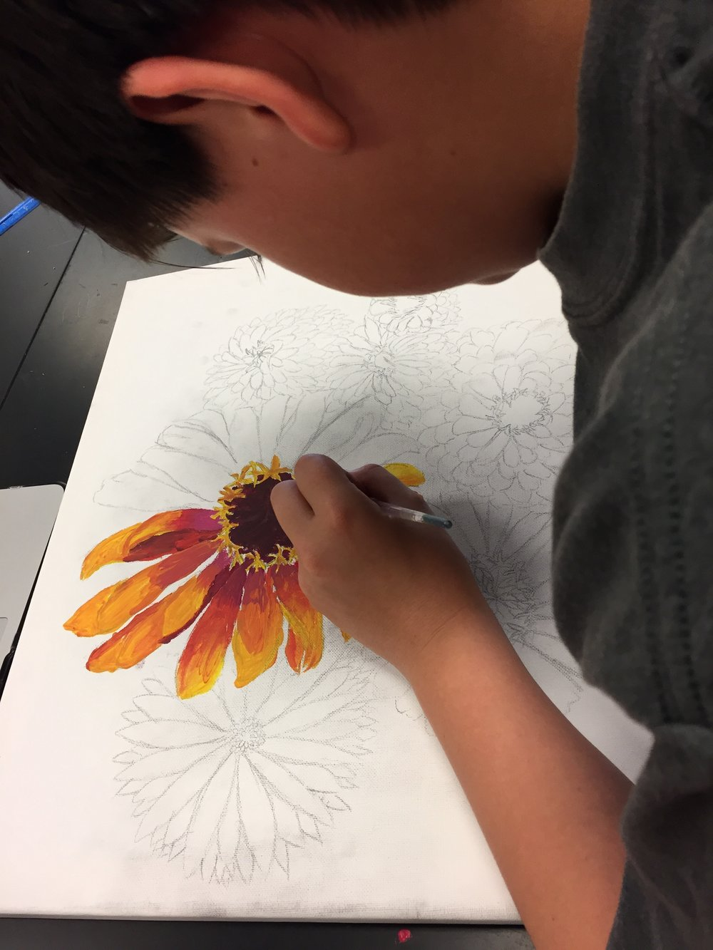 7th Grade Student working on Zinnias. Photo by Melody Weintraub