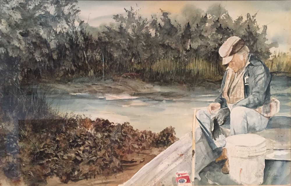 """Gettin' Ready to Get 'Em,"" by Melody Weintraub. Watercolor. Please do not reproduce."