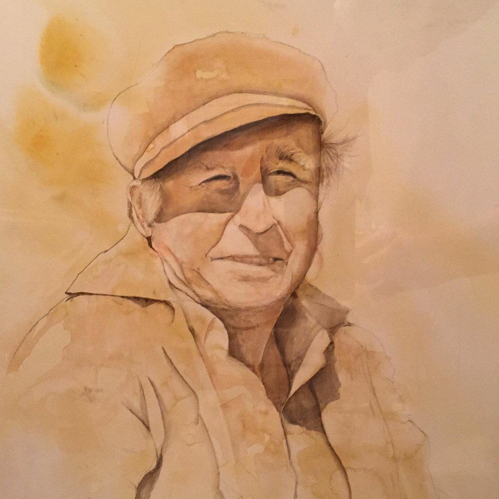 """The Fisherman,"" by Melody Weintraub. Watercolor. Please do not reproduce."