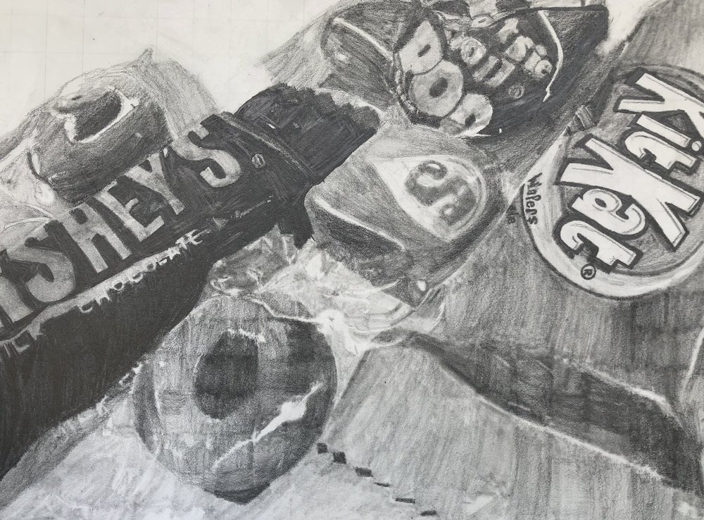 Final Drawing of Candy by 8th Grade Student Christian Allen/Photo by Melody Weintraub
