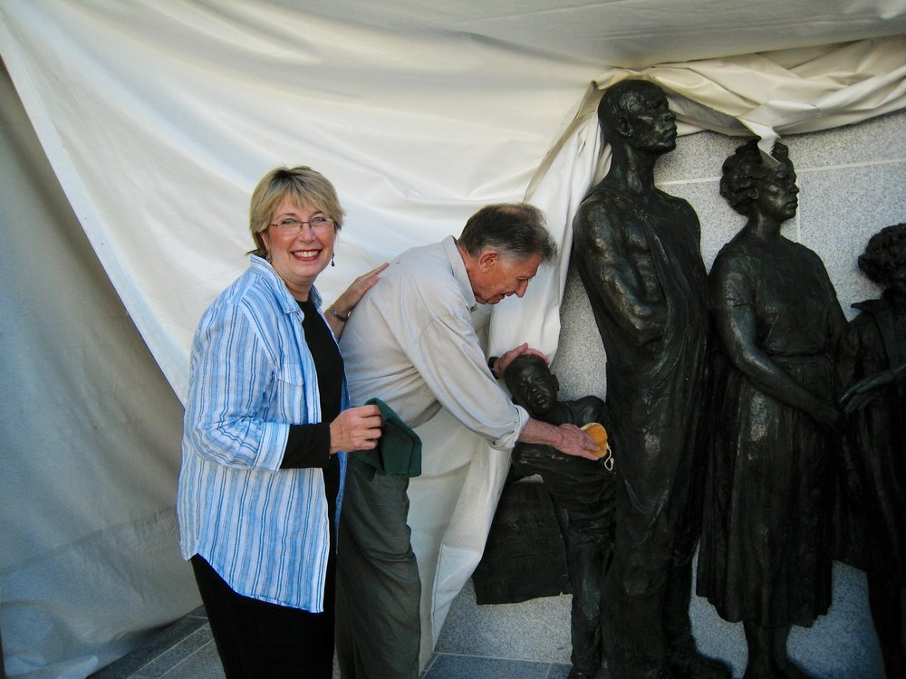 "Melody Weintraub with Stanley Bleifeld at the Virginia Civil Rights Memorial, ""It Seemed Like Reaching for the Moon."" Do not use photo without permission."