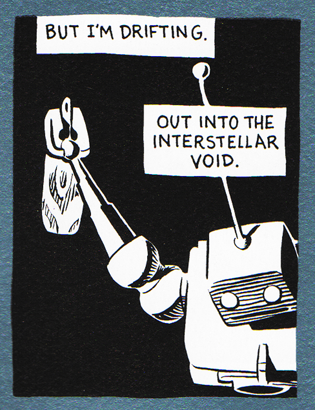 Panel from the Joel Priddy comic  Long Slow Flight Of The Ashbot
