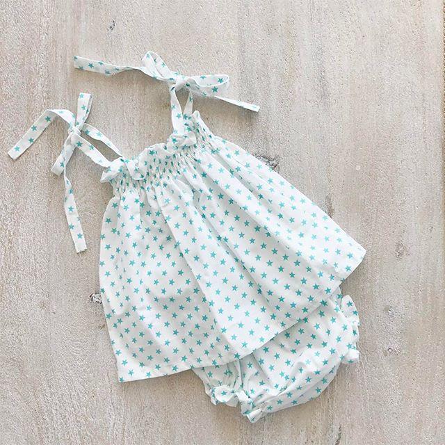 Mint Stars ✨✨✨ #summer #dress #baby #girl #fashion #cotton #BabiesAreBabies #collection #european #style #handmade #MadeInSpain #melbourne #clothing #kidsfashion #RowingAndCo