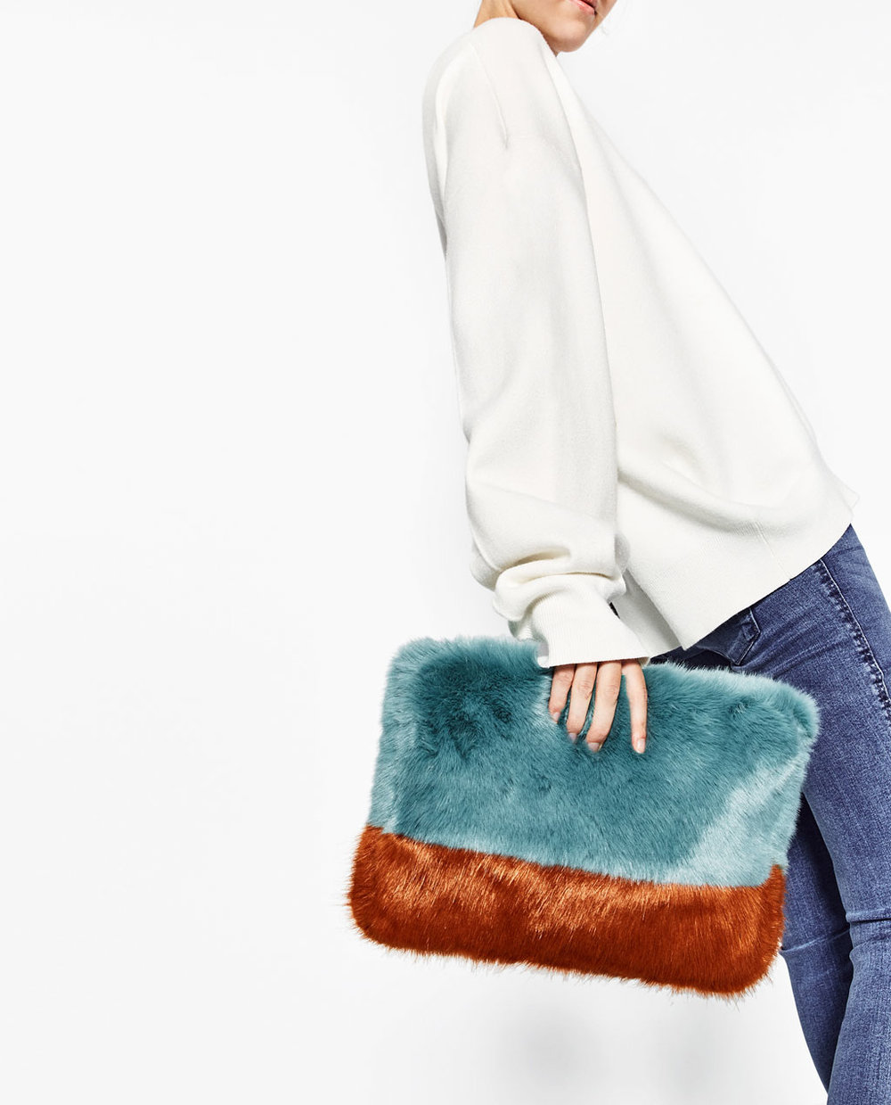 Faux Fur Bi-Color Clutch