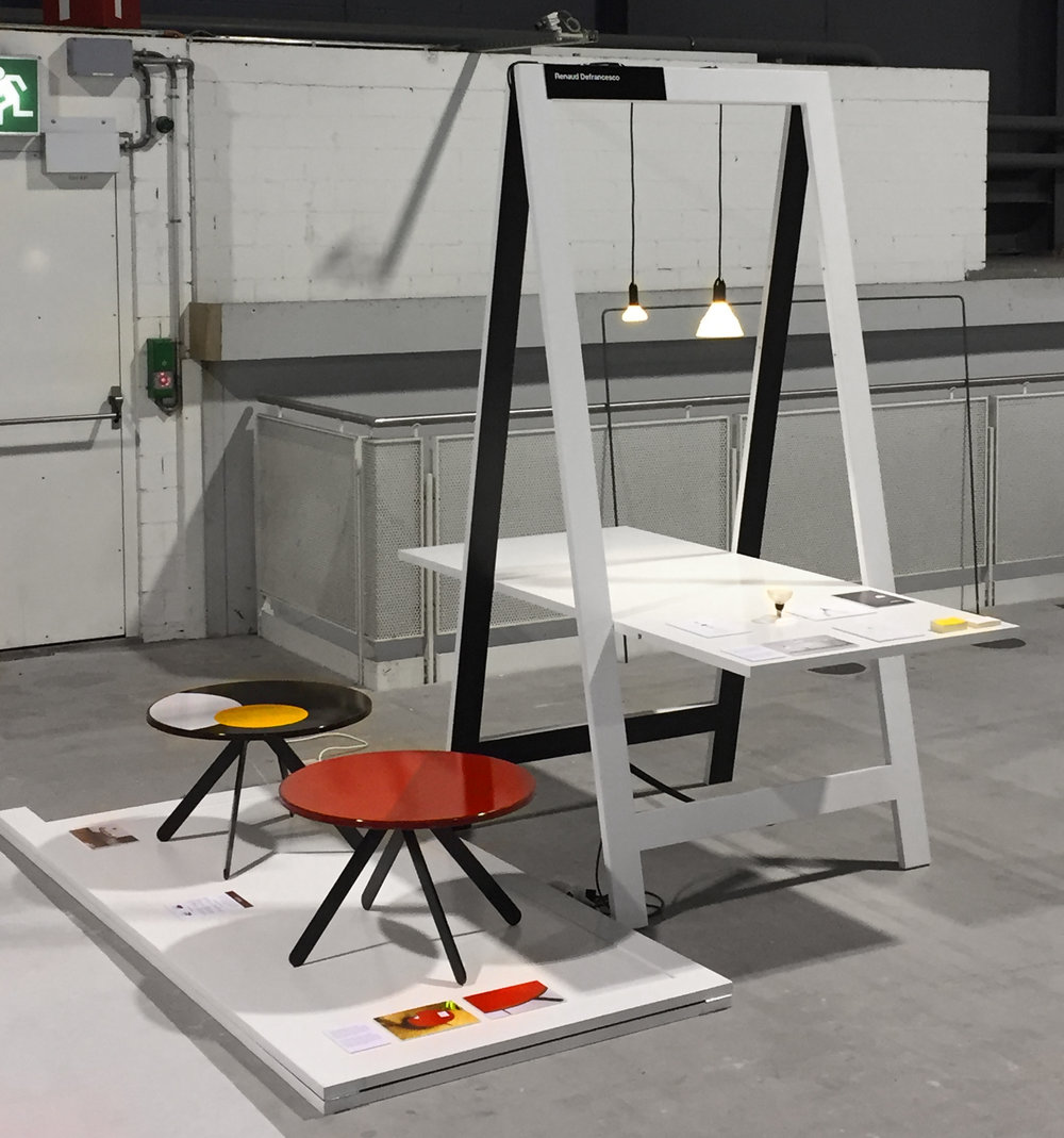 My booth during the Swiss Design Awards, with Maïa the coffee table and the Bulbs LMP
