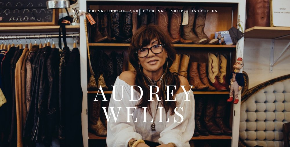 audreywells.com - California based Vintage Collector and E-CommerceFeatures: Long and large imagery displaying personalized client, links to 3rd party web shop, curated typography