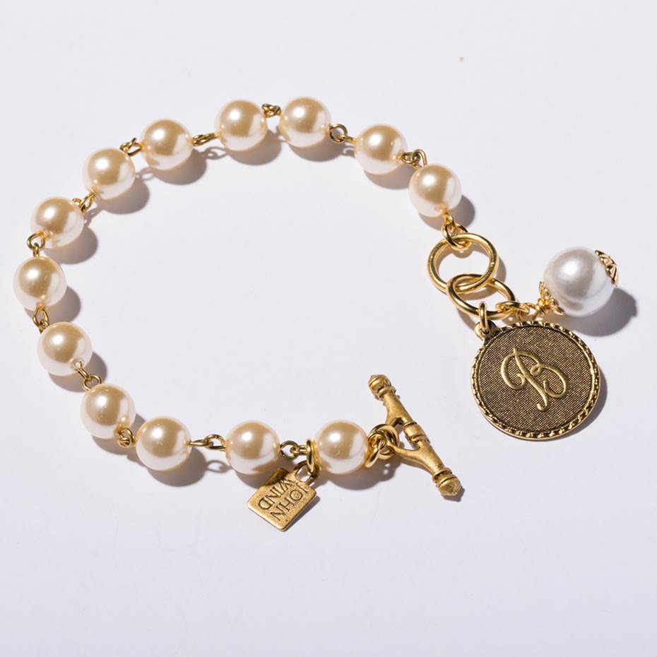 Mini Coin Pearl Initial Bracelet