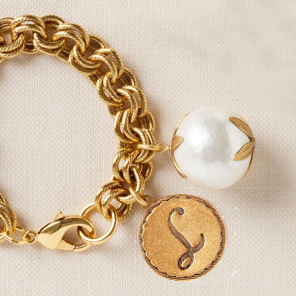 Signature Cotton Pearl & Initial Bracelet