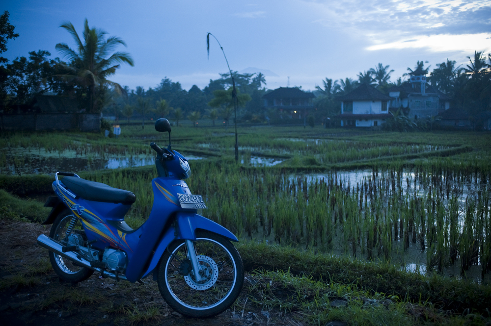 Adding life and three dimension to the fields. I have foreground interest in the motorcycle, rice fields in the centre locating us, and housing in the background showing where we are (not out in the middle of nowhere).