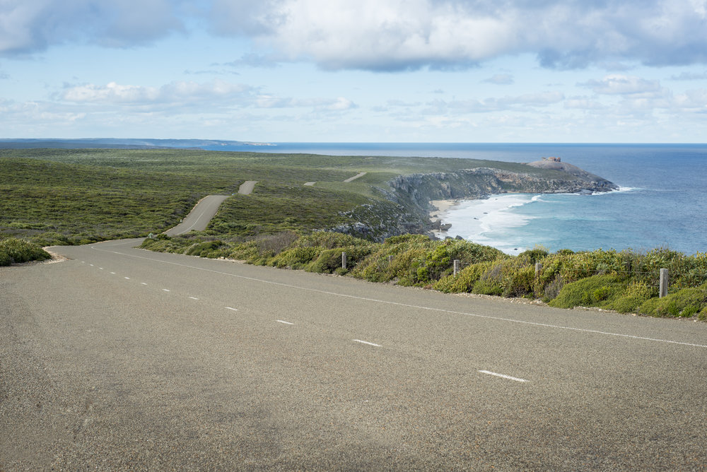 Where the southern ocean hits Kangaroo Island - dramatic and beautiful at once. The road to Remarkable Rocks.