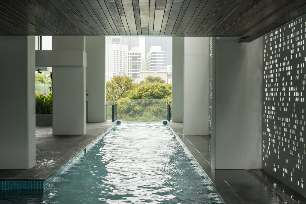 The communal pool in the first Airbnb property in Southbank, Brisbane. A great area with BBQs, pool, spa, sauna and gym
