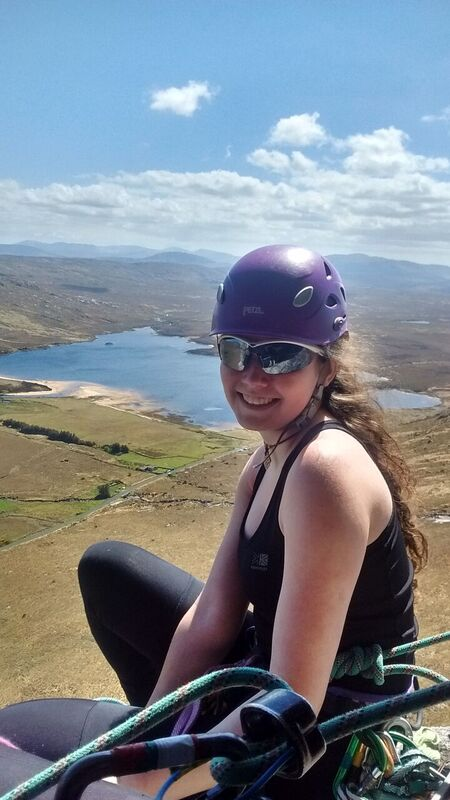 Sixteen year old Anna Kellagher from Fermanagh multi-pitch climbing on the Bingorm cliffs above Lough Barra. Photo Allanah O'Callaghan.jpg