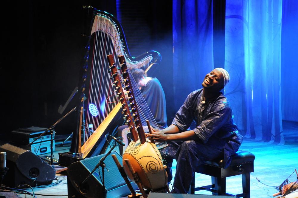 eitt av instrumenta festivalen må skaffe til årets festival, er ei harpe til catrin finch. ho kjem tilførde saman med seckou keita.