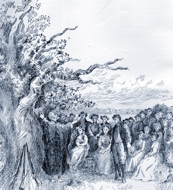 Sketch from Willey's Book of Nutfield (page 52) depicting the First Sermon.