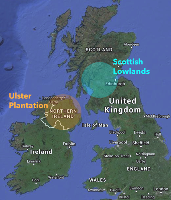 The Scots-Irish migrated from the lowlands in Scotland to the new Ulster Plantation in Northern Ireland.