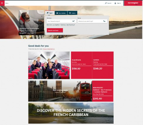 Norweigan Airlines Optimized website