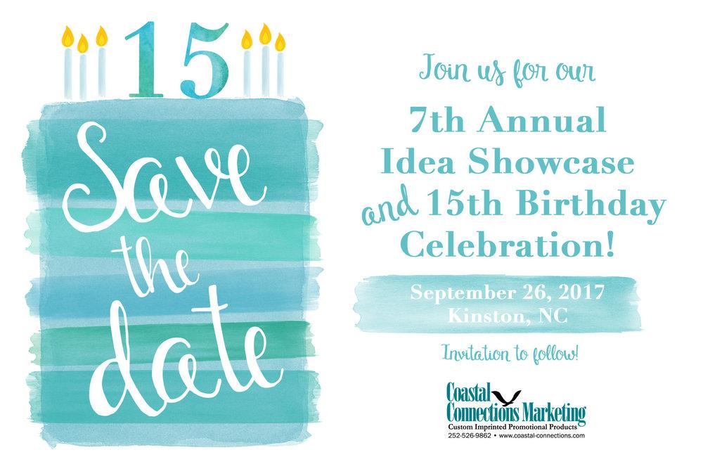 save the date 7th annual idea showcase 15th birthday celebration