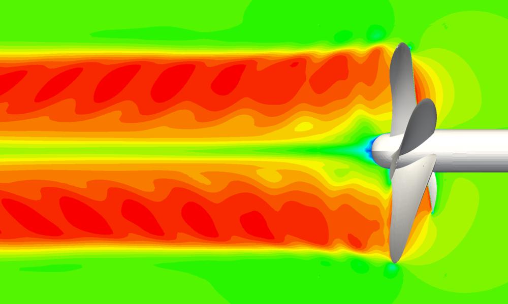 Streamwise velocity in an open-water propeller flow