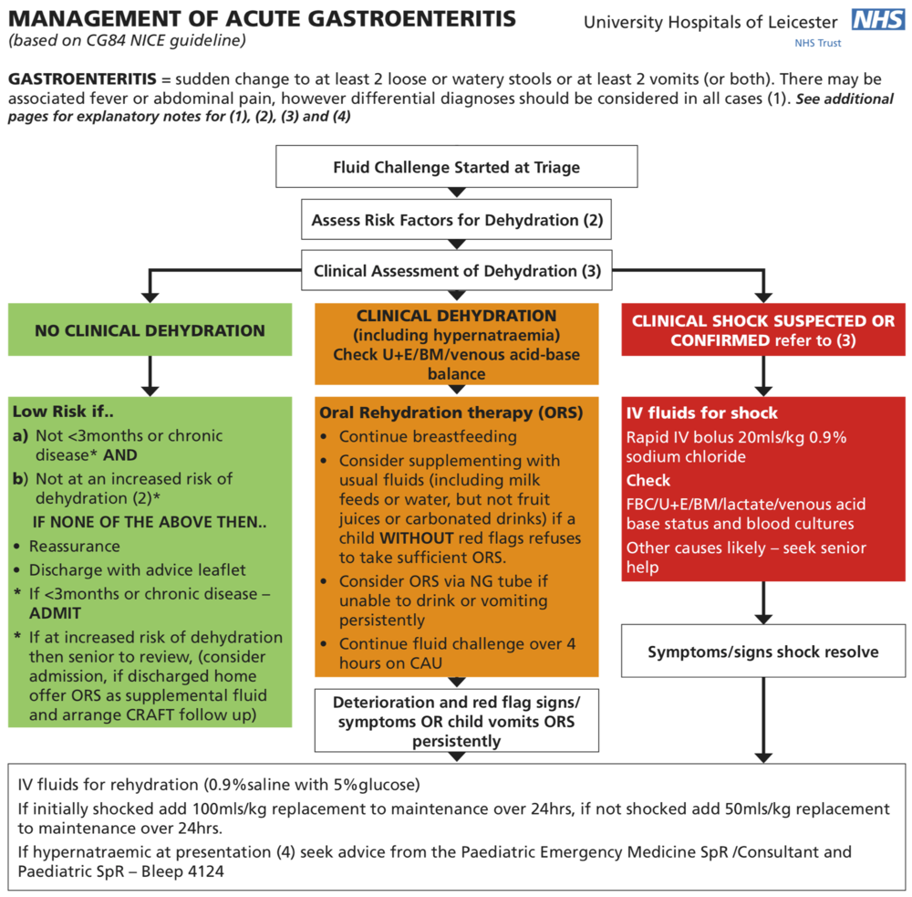UHL AE Guideline for the Management of Gastroenteritis in under 5yr olds. Based on CG84 Nice Guideline.
