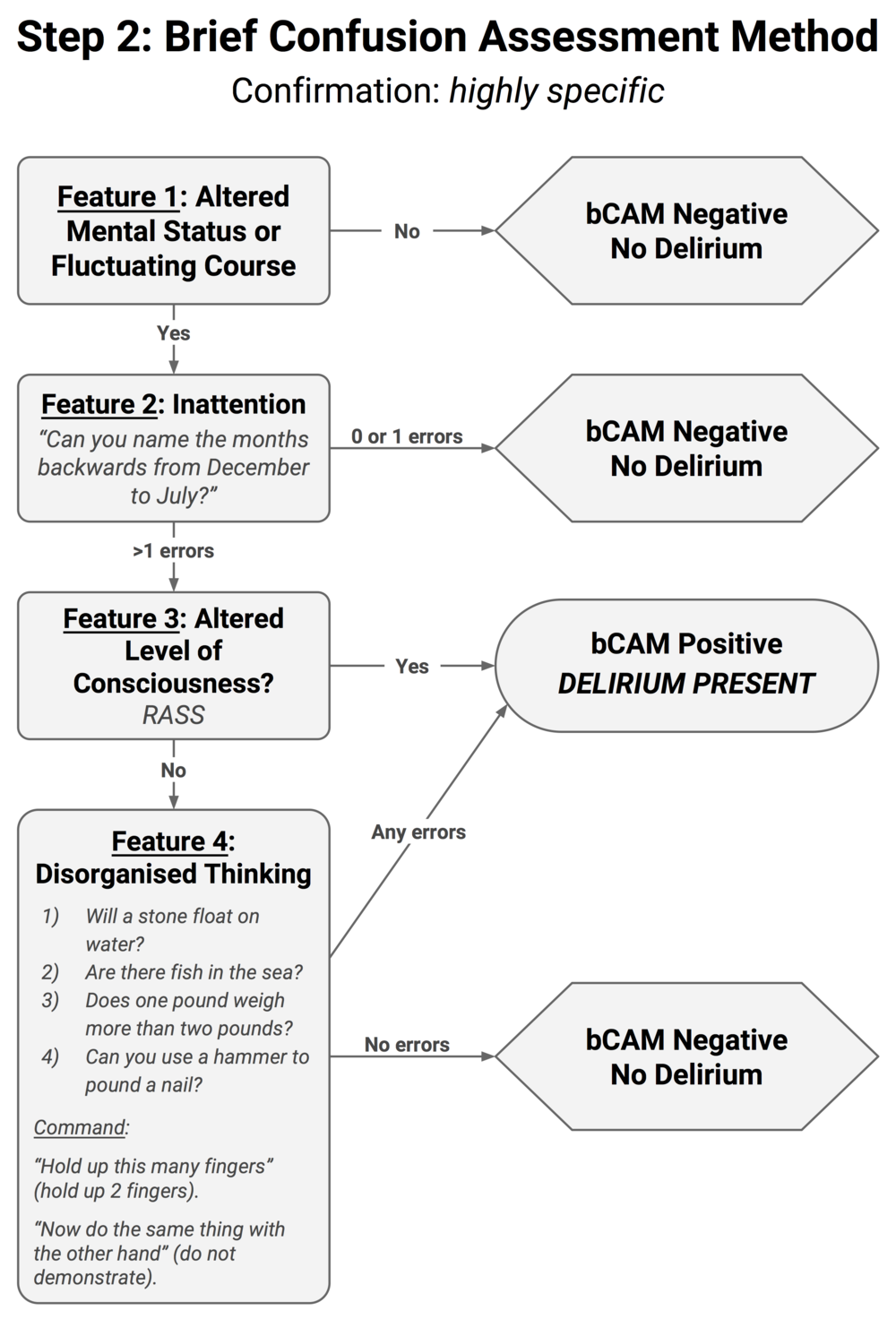 Diagram 3.  Brief Confusion Assessment Method (bCAM)