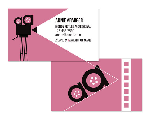 Film producer business card carolyn belefski the client requested to use pink as a main color and it pairs nicely with white and black in a classic style the aa motif is formatted throughout the colourmoves Image collections