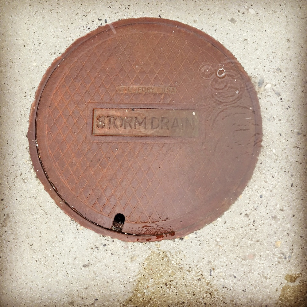 Storm drain during a storm.