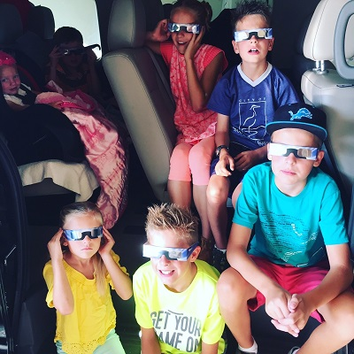 The kids excited to leave on our Idaho eclipse trip, August 19, 2017.