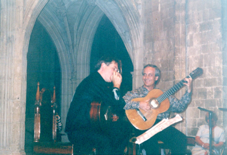 Ben with Paco Pena, Chichester Cathedral, England