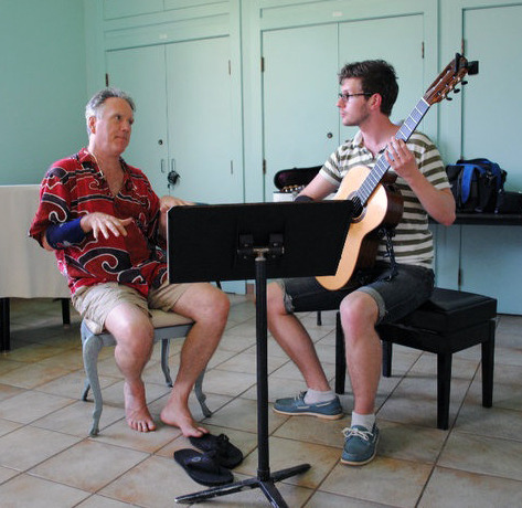 Ben with Graham Banfield during his guitar class in Maui, Hawaii.