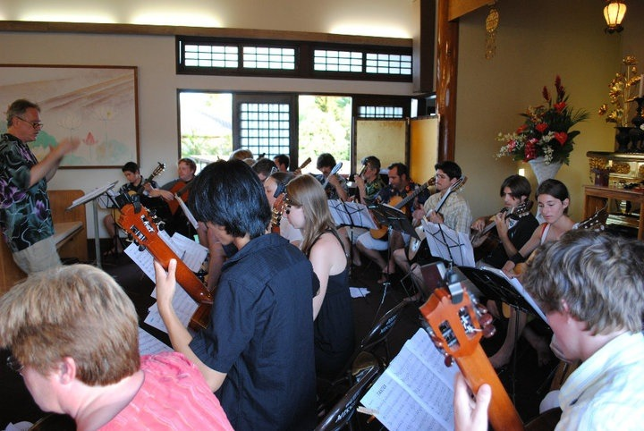 Ben Conducting the Honu Guitar Orchestra at the Jodo Mission, Lahaina, Maui Hawaii