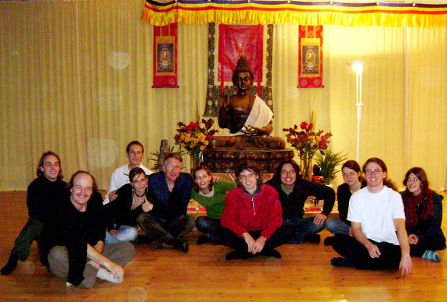 Ben with Thomas Offermann's students from Rostock, Germany, after a performance of Give (written for them) at a Dharma Center in Berlin.