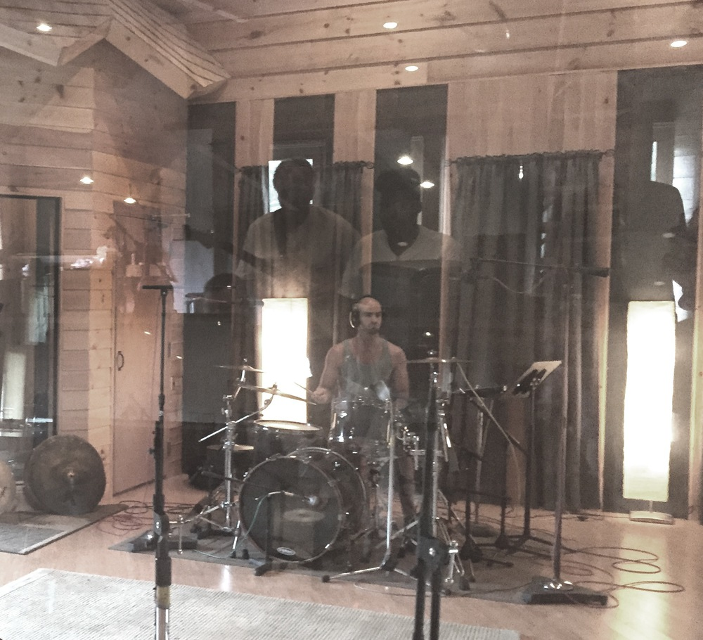 jared absolutely killing us (Billy and I reflected in the glass) with his powerful and imaginative drumming on Chant for Peace.