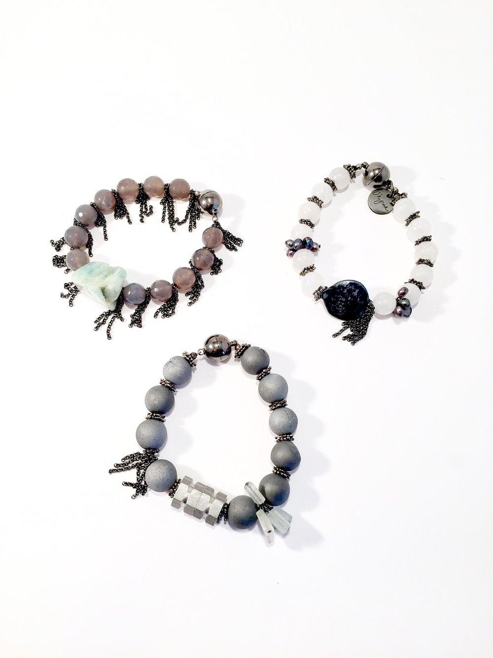 FRITZI Gray Druzy/Gray Quartz/Moonstone