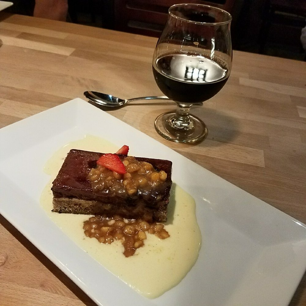 Course #5: Bananas Foster Cake with frozen chocolate custard and crème anglaise paired with Caramelized Chocolate Churro Baltic Porter