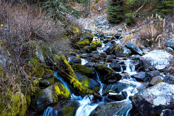 A peaceful mountain stream in Gallatin National Forest near Big Sky, MT