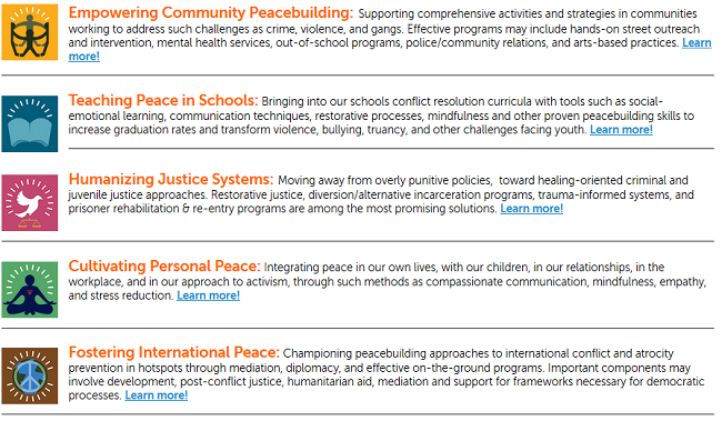 The 5 cornerstones of peacebuilding from The Peace Alliance