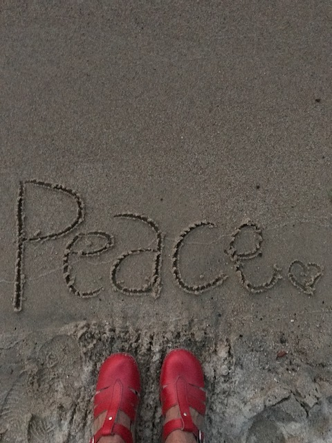 peace in the sand red shoes.JPG