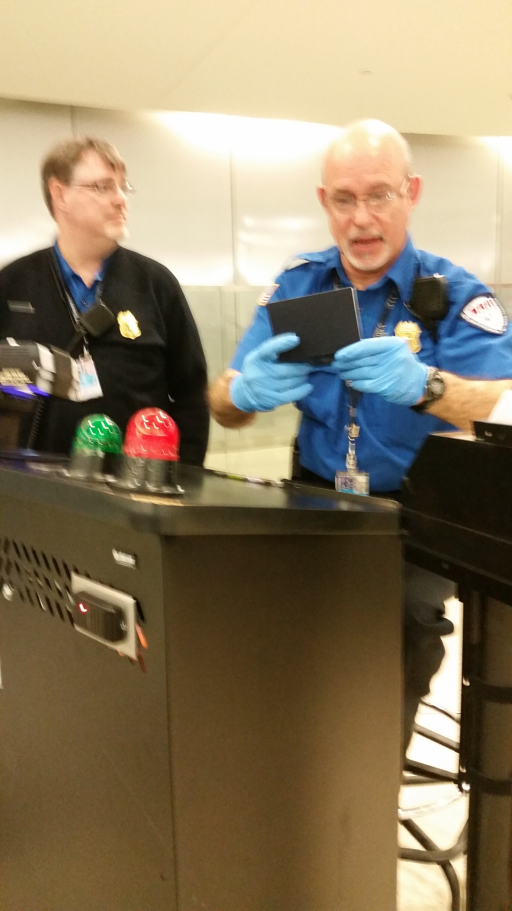 Emerson meets the TSA Agent for check-in.