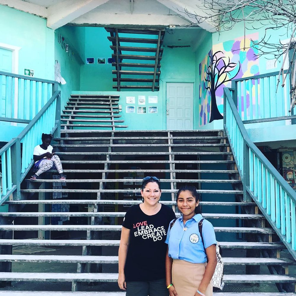 Lillian and I visit the Ocean Academy school on Caye Caulker