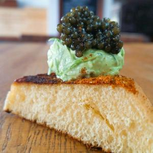 Executive Chef Doug Ruley created a new dish just for Bluecoast Rehoboth: Martin's potato bread toasted with a touch of Old Bay, topped with whipped chive butter and a dollop of Ossetra Caviar. BOB YESBEK PHOTO