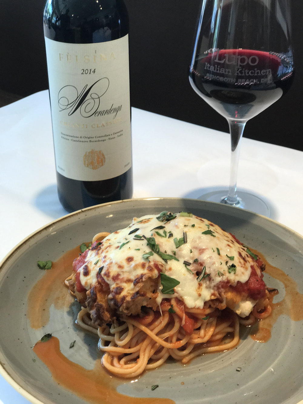 014 Felsina Chianti Classico 'Riserva' with Chicken Parmesan at Lupo Italian Kitchen