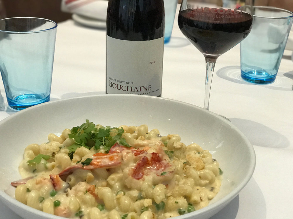 2014 Bouchaine, Pinot Noir paired with the Lobster Cavatappi at Bluecoast Rehoboth