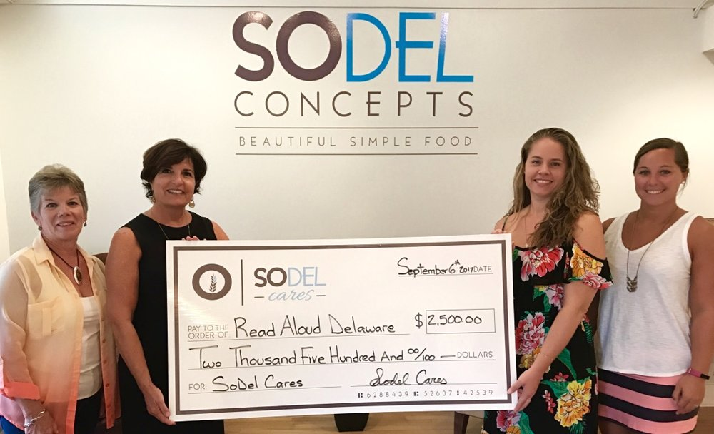 SoDel Cares donated $2,500 to Read Aloud Delaware, which secured matching funds. L. to R.: Paula Kotowski, a volunteer with Read Aloud Delaware; Lisa Coldiron, the Sussex County coordinator for Read Aloud Delaware; Lindsey Barry, comptroller for SoDel Concepts, which founded SoDel Cares; and Caroline Judge, the social media specialist for SoDel Concepts.