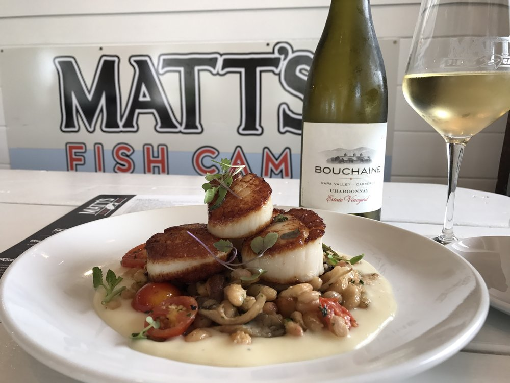 2014 Bouchaine, Carneros, Chardonnay with the scallops at Matt's Fish Camp in Lewes