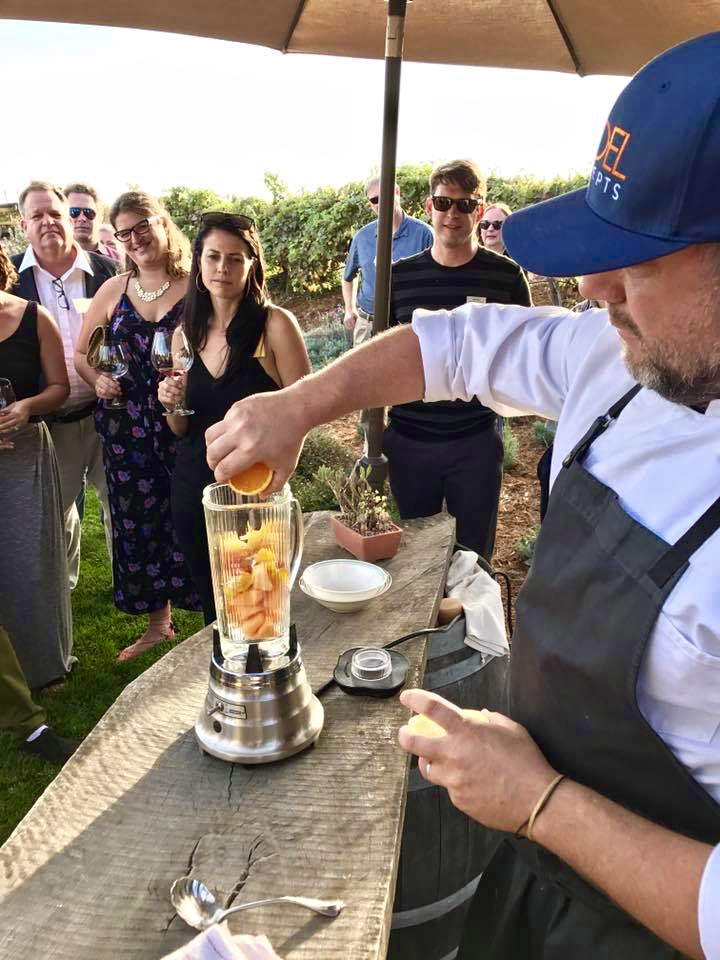 In happier times in northern California, Chef Doug Ruley of SoDel Concepts participated in the Chef Series at Bouchaine Winery. Now SoDel Concepts wants to give back by donating $1 for each bottle or glass of wine sold on Friday, Oct. 27, to wildfire relief efforts. SUBMITTED PHOTOS