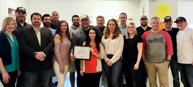 Members of the SoDel Concepts team celebrate the Restaurant Neighbor Award from the National Restaurant Association. Shown are (l-r) Danielle Panarello, Phil Blush, Mike Zygmonski, Andrew Dickinson, Bob Wolfgang, Lisa Wheeler, Michael Dickinson, Scott Kammerer, Lauren Herlihy, Alan Levin, Lindsey Barry, Matt Patton, Meghan King, Dan Levin, Kris Medford, Chris Sockriter, and Ronnie Burkle. SUBMITTED PHOTOS