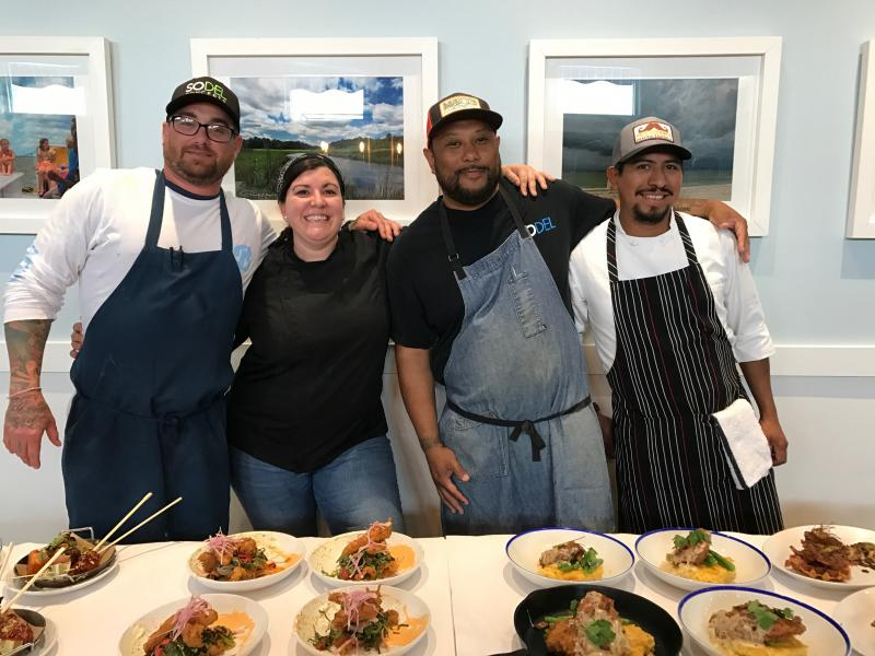 SoDel Concepts chefs shown with their chicken challenge entries are (l-r) Jason Dietterick, Maggie Cellitto, Maurice Catlett and Efrain Martinez. SUBMITTED PHOTOS