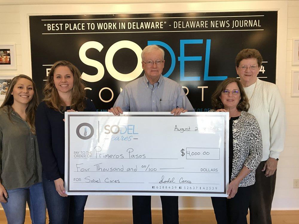 SoDel Cares donates $4,000 to Primeros Pasos.jpg